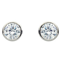 RenéSim Classic Diamond Stud Earrings Brilliant-Cut with Narrow Edging