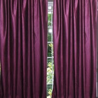 "Purple Tab Top Sari Curtain / Drape / Panel- Pair Window Treatment (Length:96"".)"