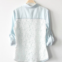 Light Blue Denim Lace Shirt