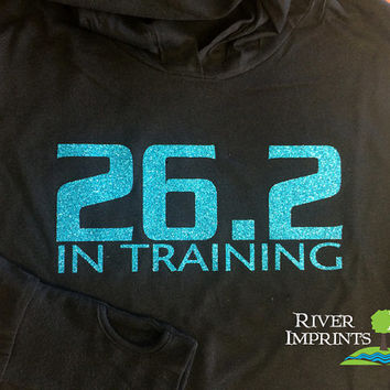 26.2 IN TRAINING Long Sleeve Ladies Hooded Pullover, Fitted Sparkly Glitter Moisture Wicking Run Jacket, with thumb holes