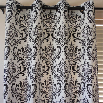PAIR of 2 grommets window curtains grommets window panels modern curtains damasc curtains window drapery