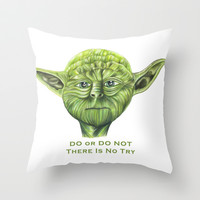Yoda - Try Throw Pillow by Susaleena