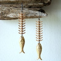 Fish Earrings - vintage gold Lucite fish - vintage brass fish bone chain - gold fish earrings - nautical fashion - gift for Pisces