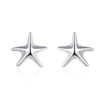 18K White Gold Plated Classic Starfish Stud Earring