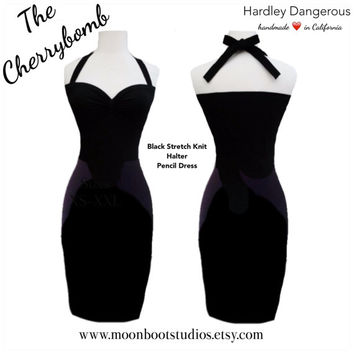 ROCKABILLY Halter Pencil Dress, Sexy Sweetheart Neckline, Retro Classic 1950s Style, Available in over 30 Custom Colors