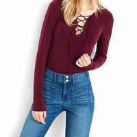 Long Sleeve Lace-up Front Shirt from EXPRESS