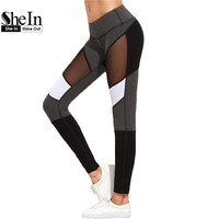 SheIn Casual Leggings Women Fitness Leggings Color Block Autumn Winter Workout Pants New Arrival Mesh Insert Leggings