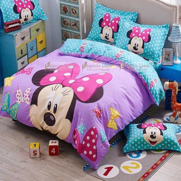 Kids Mickey Minnie Mouse Present  Bedclothes 3d Bedding Sets for  Full Queen 4pcs Bed Duvet Cover Sheet Comforter Set