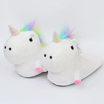 Plush Unicorn Slippers For Adult Women