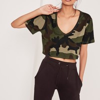 Missguided - Traditional Camo Print Crop Top Khaki