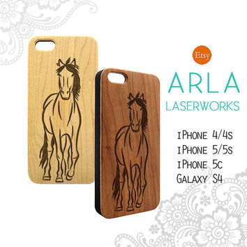 Horse Engraved Wood iPhone 5 Case, Natural Wood iPhone 6 Plus Case, Engraved iPhone 6 Case, Animal Wood iPhone 4s Case