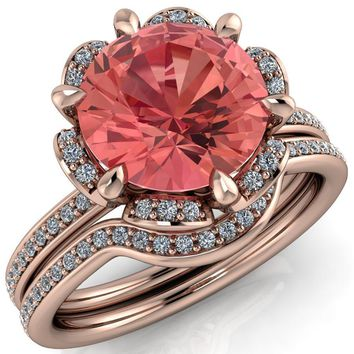 Daisy Round Padparadscha Sapphire Floral Diamond Basket Design and Diamond Shoulders Ring