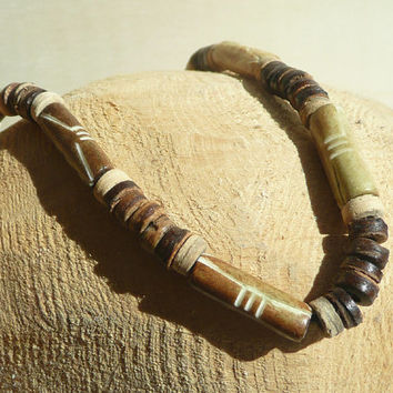Bone Necklace, African Necklace, Ethnic Necklace, Beaded Bones Necklace Brown, Jewelry, Nature Tones,