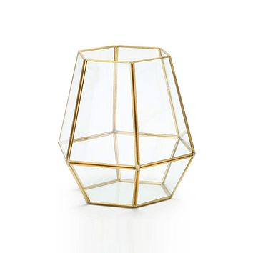 "Glass Geometric Terrarium in Gold - 8.25"" Tall x 7.5"" Wide"