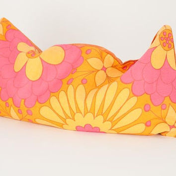 Bridesmaids eye pillow or yoga, baby shower, bridal gift with lavender insert in refreshing orange, pink, and yellow flowers