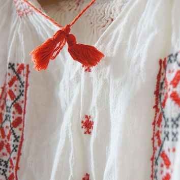 Vintage 60's traditional Romanian  blouse Red black  Hand Embroidery white Background  Balkan Folk top blouse  Free shipping