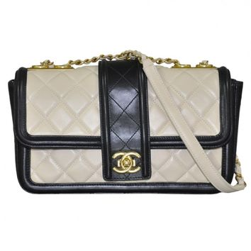 Chanel Beige and Black Leather Flap Handbag