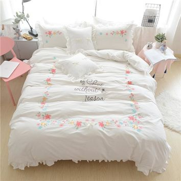 Cool 4/6Pieces 100%Cotton White Pink Blue Bedding Set Queen King size Girls Duvet Cover Oriental Embroidery Bed sheet set PillowcaseAT_93_12