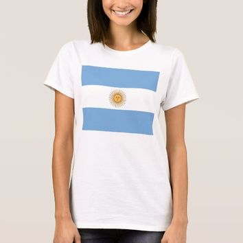 Women T Shirt with Flag of Argentina