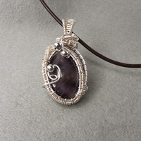 February birthstone, Amethyst pendant, Wire Wrapped pendant,