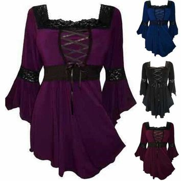 Women's Bell Sleeve Ruffle Blouse Casual Lace Up Peplum Tops Loose Shirts S-5XL