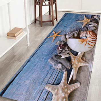 Coral Velvet Conch Starfish Skidproof Bath Rug