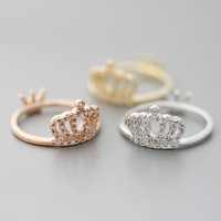 Crown ring with Cubic Zirconia Setting in White Gold / Gold/ Pink Gold Color