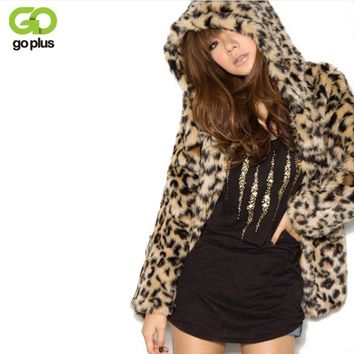 GOPLUS 2018 Lady Faux Fur Coat Winter Leopard Fur Jacket Hooded Fur Outerwear Coat Women Warm Fake Fur Coat Casaco De Pele Falso