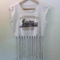 Old Sacramento California / Crop Top / Belly Top / Fringe Top / Muscle Top / Graphic Tee / Heather Gray / Train / Boho / Summer Festival