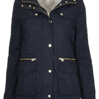 PETITE Faux Fur Trim Borg Lined Parka Jacket - Navy Blue