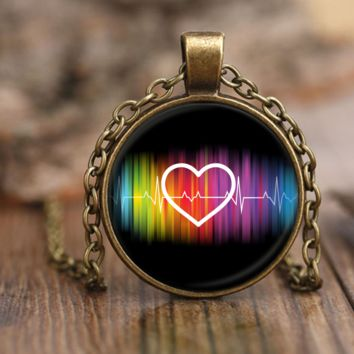 LGBT Pride Necklace by Living Gay | Gay Rainbow Heart Pulse Necklace, Gay Pride Necklace, Lesbian Necklace