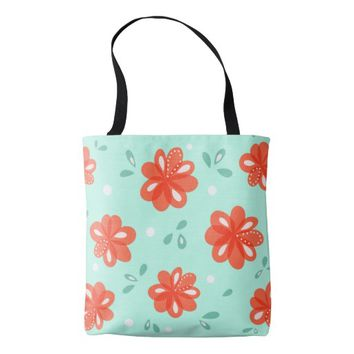 Cheerful Decorative Green Red Floral Pattern Tote Bag