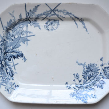 Aesthetic Movement Blue Transferware Platter Poppies Poppy Burgess & Leigh