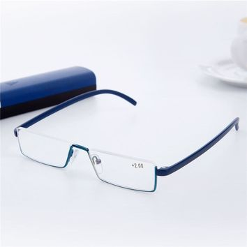 f356b36575be Men Reading Glasses Tr90 Half Frame Eyeglasses Semi Rimless Read