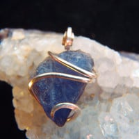 Little Blue Iolite Crystal Pendant Charm in a Dainty Primative Sterling Silver Tension Set Art Wrap