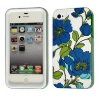 Kate Spade White Base With Blue Leaves Hardshell Cover Case For iPhone 4 4G 4S with Package KS007:Amazon:Cell Phones & Accessories