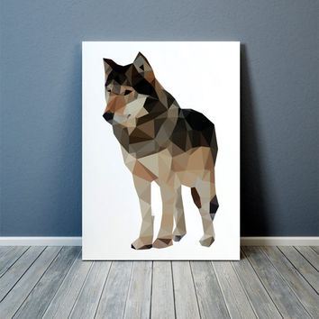 Wolf art Colorful decor Animal print Polygonal poster TOA60