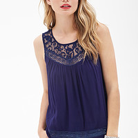 LOVE 21 Embroidered Lace Blouse Midnight