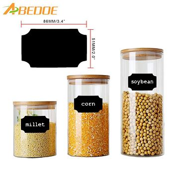 ABEDOE Black Chalkboard Labels Waterproof Sticker Sticky Note Label for Canisters Bottles Cups Bins Jars Flowerpot Refrigerator