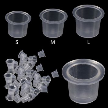 1000Pcs/Bag Plastic Microblading Tattoo Ink Cap Cup Pigment Clear Holder Container S/M/L Size For Needle Tip Grip Power Supply