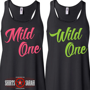 Mild One Wild One Best Friend Tank Tops - Besties Tanks Shirts for Best Friends Cute Funny