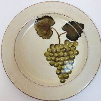 Tabletops Unlimited Villa Grande 3 Pc. Dinner Plates Hand Painted Grapes & Vine