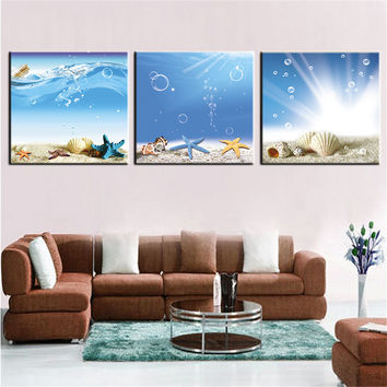Oil Painting Canvas Painting Landscape Seascape Beach Shell Wall Art Pictures for Living Room Bedroom Dining Room Home Decor 3pc