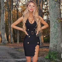 New Summer Style Sexy V Neck Chain Black Bandage Dress 2019 Knitted Elastic Party Dress