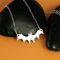 Silver Bat in the Belfry Necklace by ANORIGINALJEWELRY on Etsy