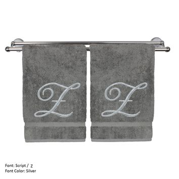 Monogrammed Hand Towel, Personalized Gift, 16 x 30 Inches - Set of 2 - Silver Embroidered Towel - Extra Absorbent 100% Turkish Cotton- Soft Terry Finish - For Bathroom, Kitchen and Spa- Script Z Gray