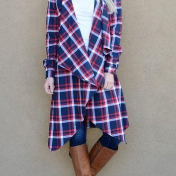 Blue-Red Plaid Lace Irregular Pockets Checkered Turndown Collar Casual Cardigan Coat