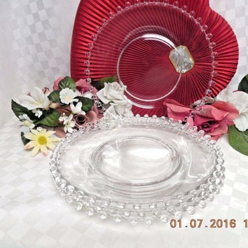 Candlewick-Clear by Imperial Glass-Ohio  set 4 Salad plate