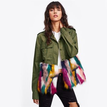 Serena Colour Block Fur Utility Jacket
