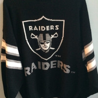 crazy oversized oakland raiders football sweater